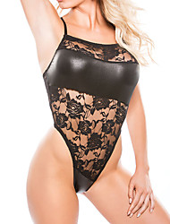 les vêtements de nuit ultra sexy des femmes, sexy patchwork-medium nylon noir