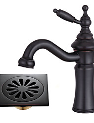 cheap -Centerset Rotating Ceramic Valve Single Handle One Hole Oil-rubbed Bronze , Bathroom Sink Faucet