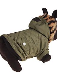 baratos -Cachorro Camisola com Capuz Roupas para Cães Sólido Verde Plumagem / Algodão Ocasiões Especiais Para animais de estimação Casual