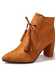 Damen Schuhe Nubukleder Herbst Winter Komfort Springerstiefel Stiefel Blockabsatz Spitze Zehe Booties / Stiefeletten Tassel(n)