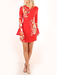 Women's Going out Casual/Daily Vintage Street chic Sheath Dress,Floral Round Neck Above Knee Long Sleeves Polyester Fall Winter High Rise