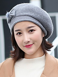 cheap -Women's Sweater Beret Hat,Hat Vintage Style Solid All Seasons Pure Color Floral Bow