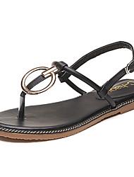 billige -Damer Sko PU Sommer Komfort Sandaler Flad hæl Rund Tå Kombination Til Afslappet Sort Grøn