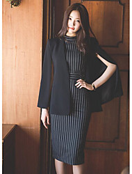 cheap -Women's Holiday Work Simple Summer Shirt Skirt Suits,Striped Crew Neck ¾ Sleeve Others Micro-elastic
