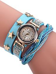 abordables -Mujer Cuarzo Reloj Pulsera Chino Gran venta PU Banda Encanto Casual Reloj creativo único Elegant Moda Negro Blanco Azul Rojo Marrón Rosa