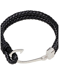 Men's Leather Bracelet Personalized Simple Style Leather Alloy Round Hook Jewelry For Going out Street