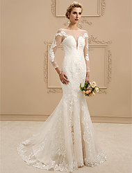 cheap -Mermaid / Trumpet Plunging Neckline Court Train Lace Tulle Wedding Dress with Appliques by LAN TING BRIDE®