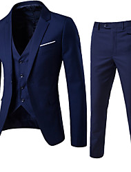 cheap -Men's Daily Going out Work Street chic Spring Fall All Seasons Suit,Solid Notch Lapel Long Sleeve Regular Cotton Acrylic