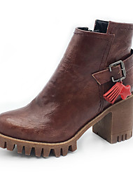 cheap -Women's Boots Fashion Boots Bootie Fall Winter Leatherette Casual Party & Evening Buckle Ruffles Zipper Tassel Chunky Heel Burgundy Black