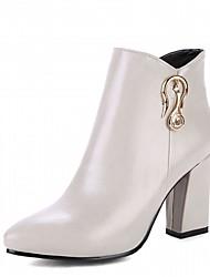Damen Schuhe Kunstleder Herbst Winter Komfort Neuheit Stiefeletten Stiefel Blockabsatz Spitze Zehe Booties / Stiefeletten Reißverschluss