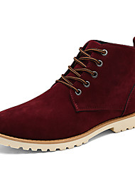 cheap -Men's Shoes Suede Fall Winter Comfort Light Soles Boots Lace-up For Casual Outdoor Burgundy Yellow Black
