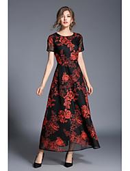 Damen Hülle Kleid-Lässig/Alltäglich Blumen Rundhalsausschnitt Maxi Knielang Kurzarm Polyester Frühling Herbst Hohe Hüfthöhe Unelastisch
