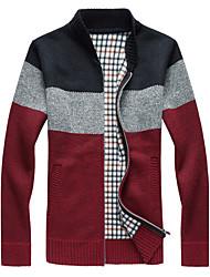 cheap -Men's Daily Casual Regular Cardigan,Print Stand Long Sleeves Cotton Winter Spring Medium Micro-elastic