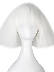 Women Synthetic Wigs Capless Short Kinky Straight Yaki White Bob Haircut With Bangs Lolita Wig Party Wig Halloween Wig Carnival Wig