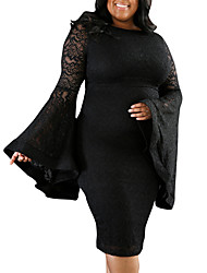 Women's Plus Size Club Sexy Vintage Bodycon Dress,Patchwork Round Neck Midi Long Sleeves Polyester Spring Fall High Rise Micro-elastic
