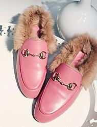 Damen Schuhe Echtes Leder Winter Komfort Loafers & Slip-Ons Flacher Absatz Runde Zehe Für Normal Rosa Wein