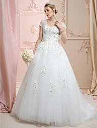 A-line off-the-shoulder tribunal trem vestido de casamento de tule com appliques de cristal rendas