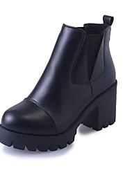 Damer Sko Kunstlæder Efterår Vinter Komfort Militærstøvler Støvler Tyk hæl Spidstå Ankelstøvler Til Afslappet Formelt Sort