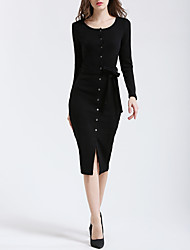 Women's Casual/Daily Sexy Bodycon Dress,Solid Round Neck Midi Long Sleeves Cotton Spring Fall Mid Rise Stretchy Medium