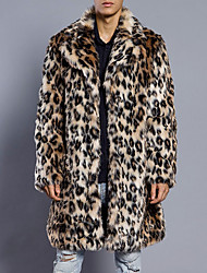 cheap -Men's Weekend Simple Casual Long Plus Size Faux Fur Slim Fur Coat-Leopard Shirt Collar