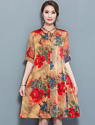 Women's Daily Going out Chinoiserie A Line Dress,Floral Shirt Collar Knee-length Half Sleeves Others Spring Mid Rise Inelastic Opaque
