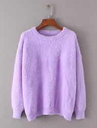 Standard Pullover Da donna-Per uscire Casual Semplice Romantico Tinta unita Rotonda Manica lunga Pelliccia di coniglio Autunno Inverno