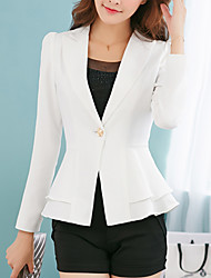 Women's Casual/Daily Work Simple Street chic Spring Fall Jacket,Solid Notch Lapel Long Sleeve Regular Polyester Others Ruffle