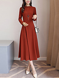 cheap -Women's Party Daily Going out Vintage Boho Street chic Sheath Dress,Solid Crew Neck Midi Long Sleeves Others Winter Fall Mid Rise