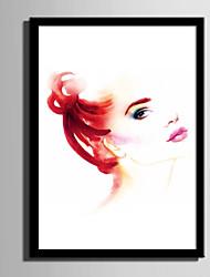 cheap -E-HOME® Framed Canvas Art Watercolor Woman Framed Canvas Print One Pcs