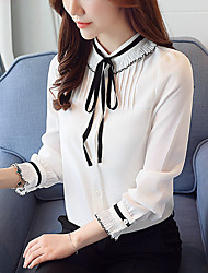 Women's Casual/Daily Work Simple Spring Fall Blouse,Solid Stand Long Sleeves Polyester Thin