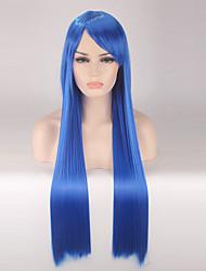 abordables -Pelucas sintéticas Recto Pelo sintético Azul Peluca Mujer Larga Sin Tapa