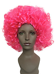 Women Short Pink Jheri Curl African American Wig Synthetic Hair Halloween Wig Costume Wigs