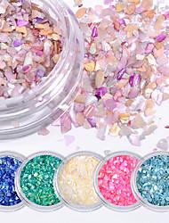 preiswerte -6 stücke natürliche shell kies glitter pailletten farbe nagel patch zubehör