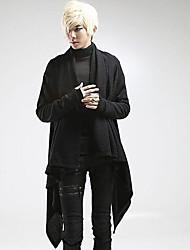 Lungo Cardigan Da uomo-Casual Tinta unita A V Manica lunga Cotone Autunno Medio spessore Media elasticità