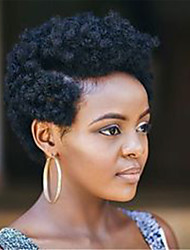 Недорогие -Человеческие волосы без парики Натуральные волосы Кудрявый Парик в афро-американском стиле Машинное плетение Парик Жен.