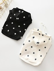 cheap -Dog Hoodie Dog Clothes Stars White Black Cotton Costume For Pets Casual/Daily