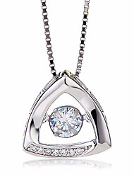 cheap -Women's Triangle Basic Fashion Pendant Necklace AAA Cubic Zirconia Sterling Silver Zircon Pendant Necklace , Engagement Date