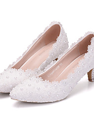 Women's Shoes PU Spring Fall Comfort Novelty Wedding Shoes Low Heel Pointed Toe Applique Beading Pearl For Wedding Party & Evening