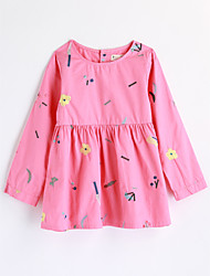 cheap -Girls' Print Blouse,Cotton Fall Long Sleeve White Blushing Pink Yellow
