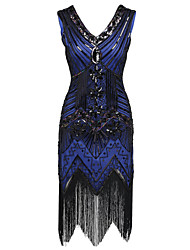 Latin Dance Dresses Women's Performance Polyester Sequined Tassel(s) Paillette 1 Piece Sleeveless High Dress