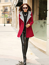 Women's Casual/Daily Sophisticated Fall Winter Pea Coat,Color Block Hooded Long Sleeve Regular Polyester