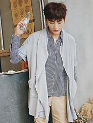 Men's Casual/Daily Regular Cardigan,Solid Cowl Neck Half Sleeves Others Spring Fall Medium Micro-elastic