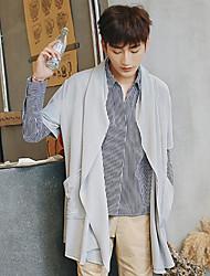 Standard Cardigan Da uomo-Casual Tinta unita A cappuccio Mezza manica Altro Primavera Autunno Medio spessore Media elasticità