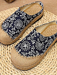 cheap -Women's Shoes Linen Summer Comfort Loafers & Slip-Ons Flat Heel Round Toe For Casual Blue Dark Blue