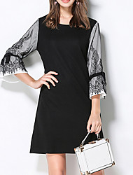 cheap -Women's Daily Plus Size Vintage Chinoiserie Sheath Dress,Color Block Round Neck Above Knee 3/4 Length Sleeves Spandex Winter Fall Mid Rise