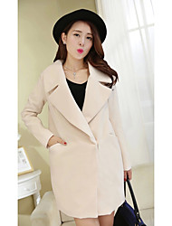 cheap -Women's Going out Work Street chic Spring Coat,Solid Notch Lapel Long Sleeve Long Wool