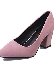 cheap -Women's Shoes PU Summer Comfort Heels Block Heel Pointed Toe For Casual Dress Blushing Pink Light Grey Black