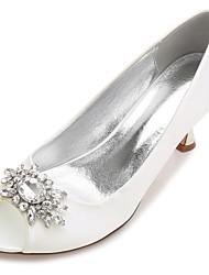 cheap -Women's Shoes Satin Spring Summer Basic Pump Comfort Wedding Shoes Low Heel Kitten Heel Stiletto Heel Cone Heel Peep Toe Round Toe