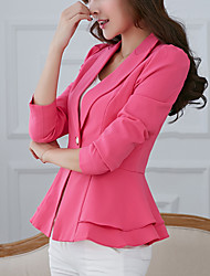 cheap -Women's Party Work Simple Casual Street chic Spring Fall Jacket,Solid Notch Lapel Long Sleeve Regular Polyester Others Ruffle