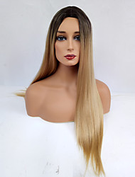 cheap -Synthetic Wig Straight Middle Part Dark Roots Ombre Hair Blonde Women's Capless Natural Wigs Long Synthetic Hair